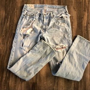 Hollister Super Distressed Slim Straight Jeans